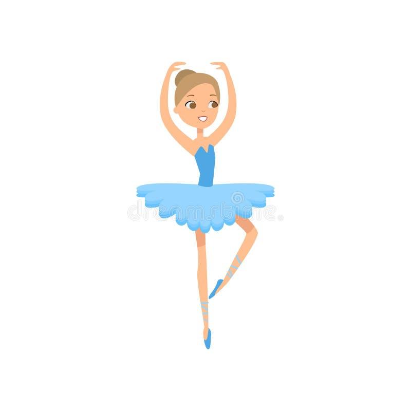 Gullig dansa le ballerina i blå textilklänning vektor illustrationer