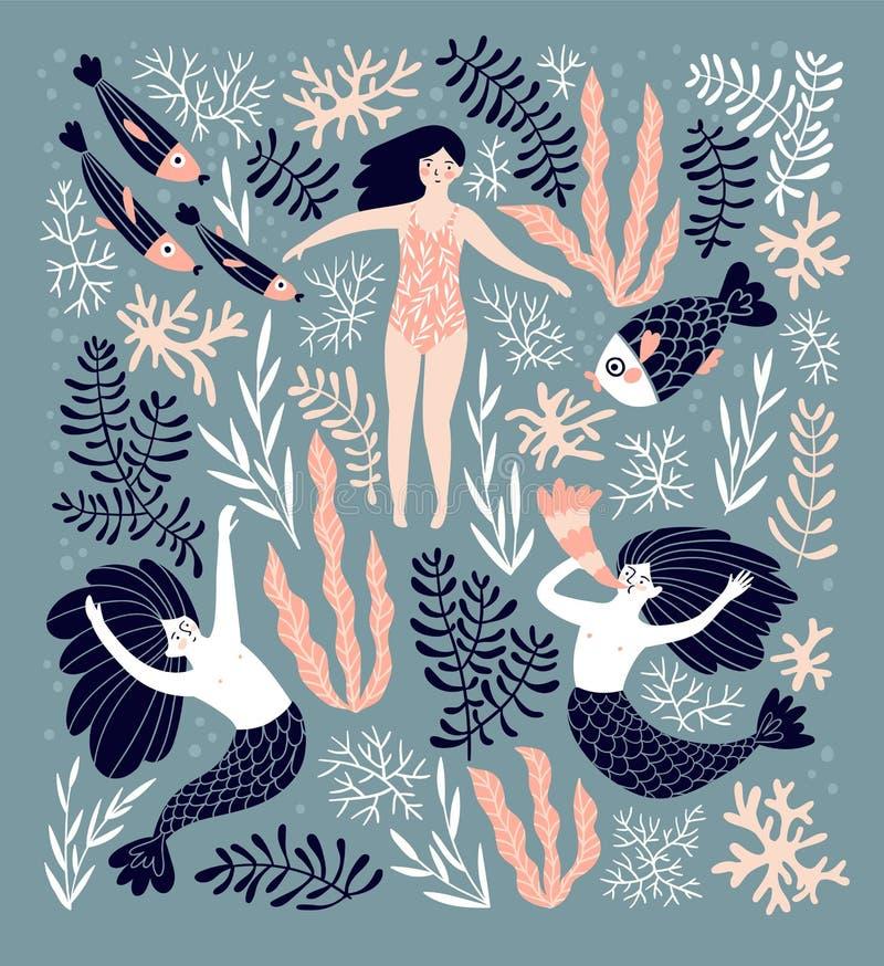Gullig dekorativ bakgrund med sjöjungfruar och simningflickan i havet Hand tecknad vektorillustration royaltyfri illustrationer