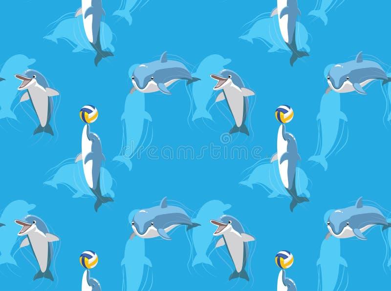 Gullig delfin som spelar den sömlösa tapeten för bolltecknad filmbakgrund stock illustrationer