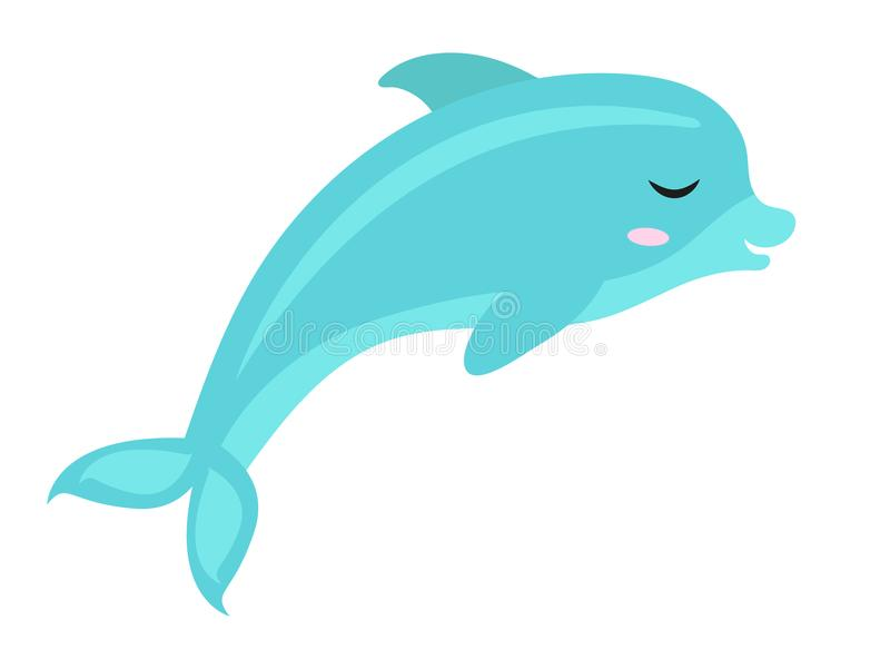 Gullig delfinsymbol, lägenhet, tecknad filmstil bakgrund isolerad white också vektor för coreldrawillustration vektor illustrationer
