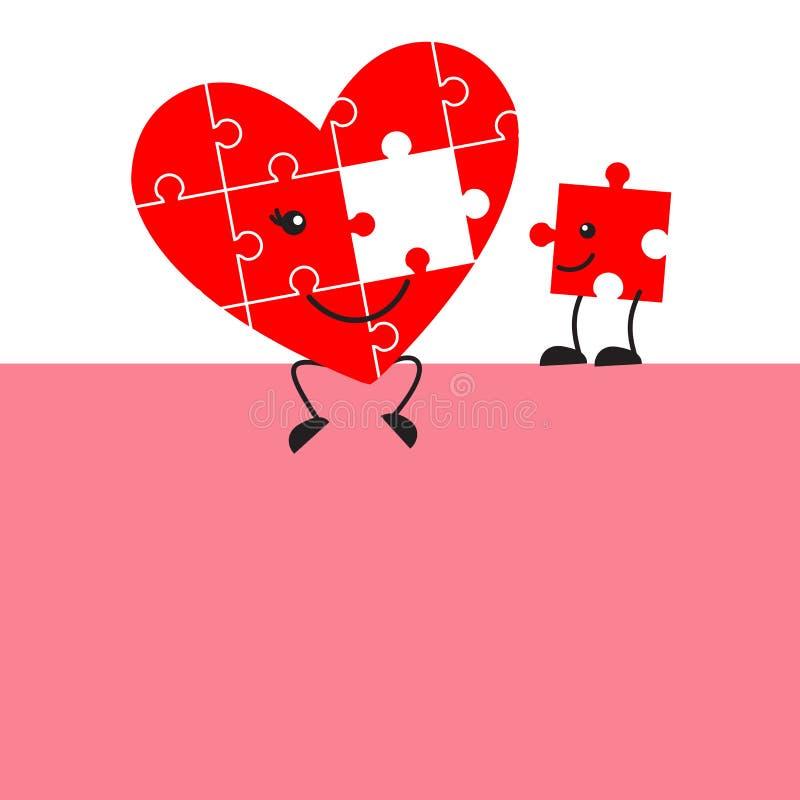 Gullig den pusselhjärta och saknaden lappar tecknade filmen för valentindag stock illustrationer