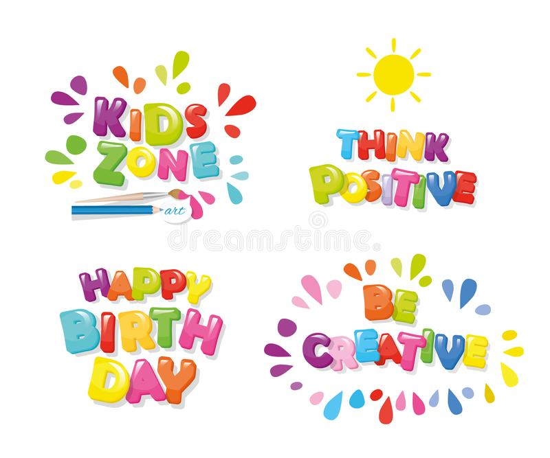Gullig design för barn Ungar zonplanerar, den lyckliga födelsedagen, funderarerealitet, är idérika Färgrika bokstäver för tecknad vektor illustrationer