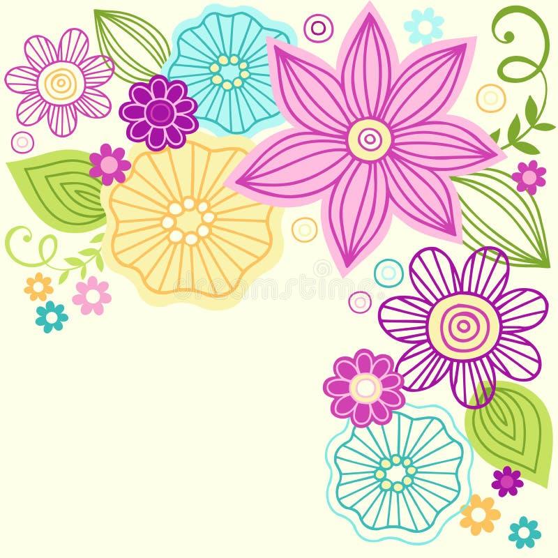 Gullig design för blommaklottervektor stock illustrationer