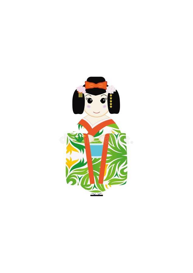 Gullig design för illustratör för japanKokeshi dockor vektor illustrationer