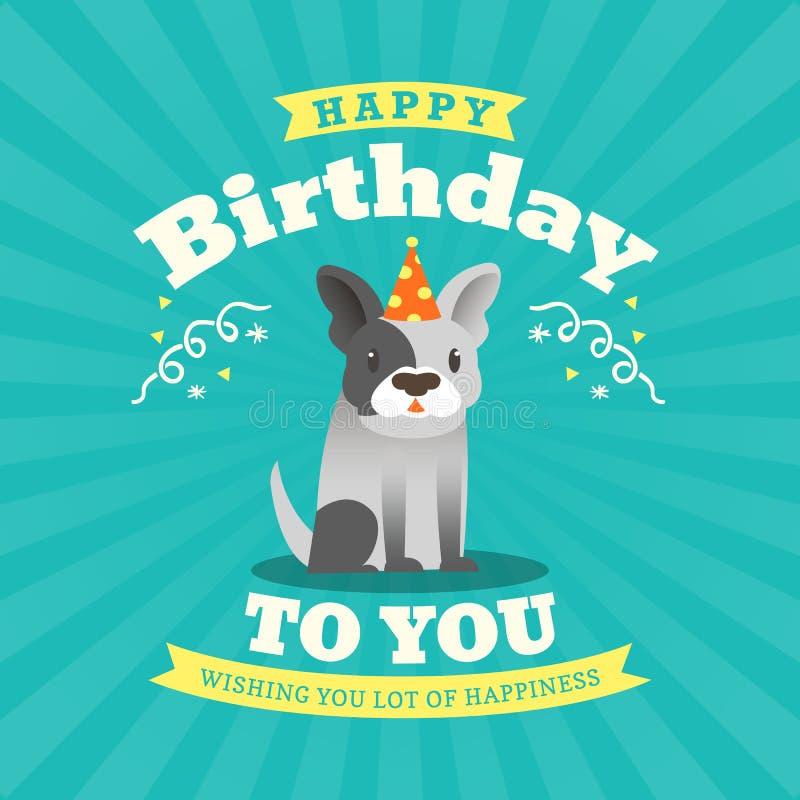 Gullig design för kort för bulldoggtecknad filmfödelsedag stock illustrationer