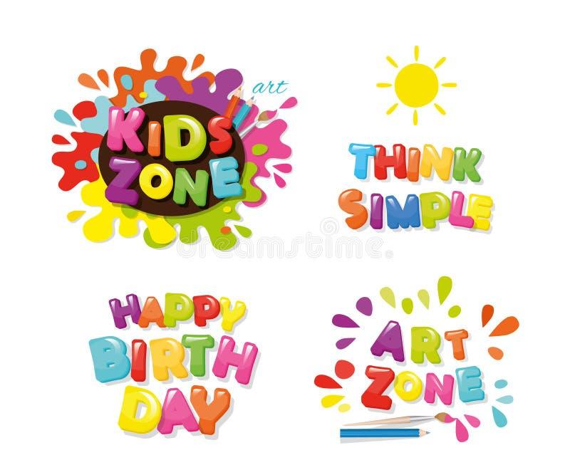Gullig design för ungar Konstzonen, lycklig födelsedag, tänker enkelt Färgrika bokstäver för tecknad film vektor royaltyfri illustrationer
