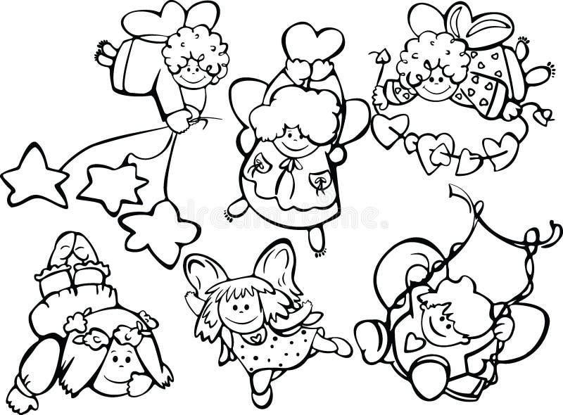 gullig designset för änglar vektor illustrationer
