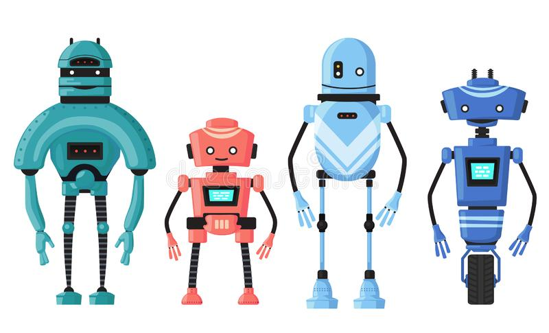 Gullig detaljerad isolerad robotuppsättningvektor Robotic tecken för tecknad film stock illustrationer