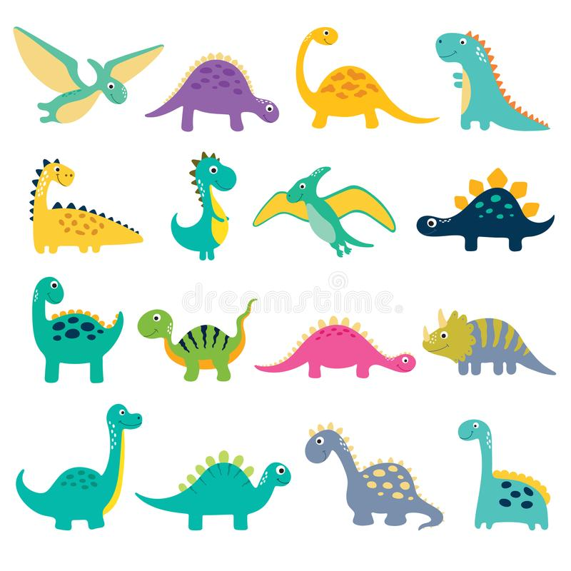 Gullig dino illustration stock illustrationer