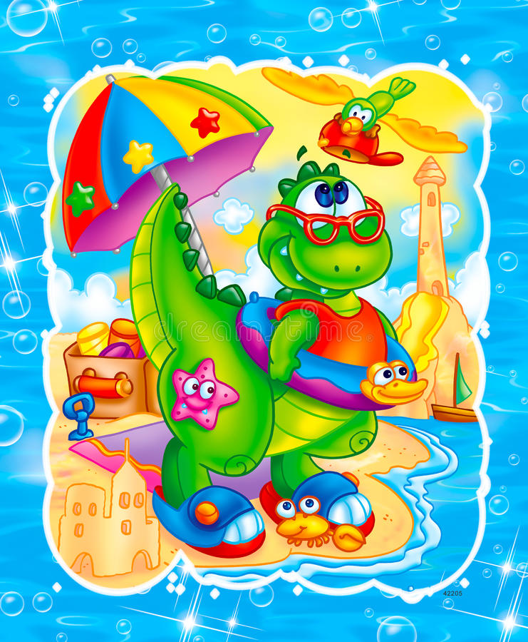 gullig dinosaur royaltyfri illustrationer