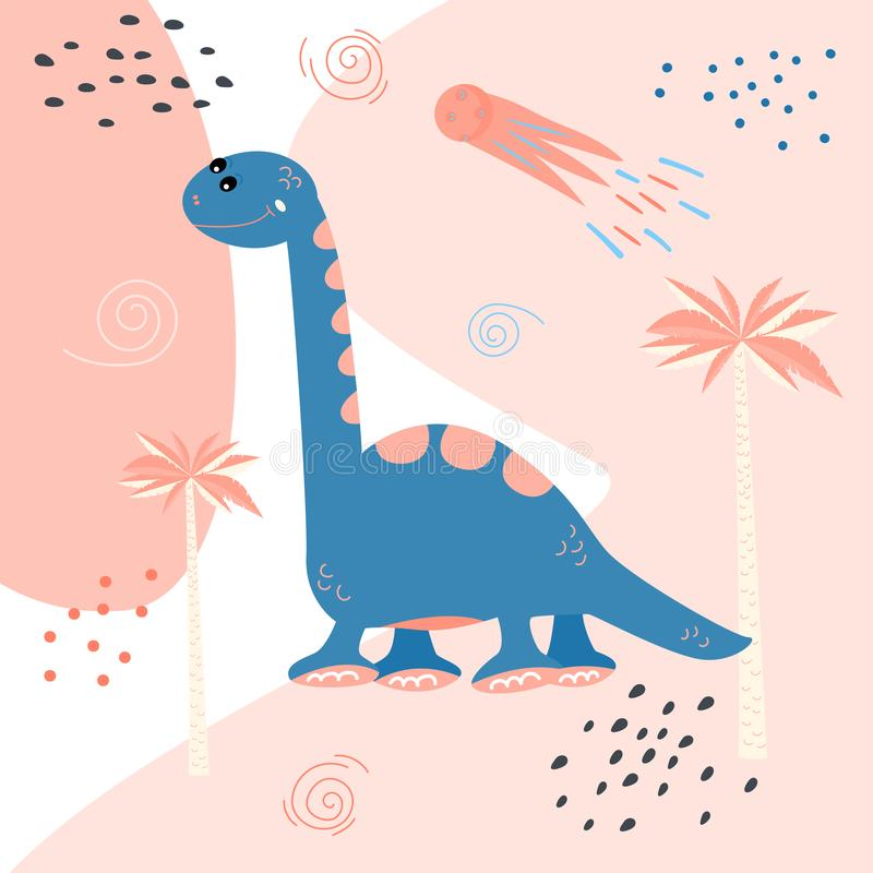 gullig dinosaur för tecknad film Tryck för barns t-skjortor, tröjor greeting lyckligt nytt år för 2007 kort Klistermärkevektorill royaltyfri illustrationer