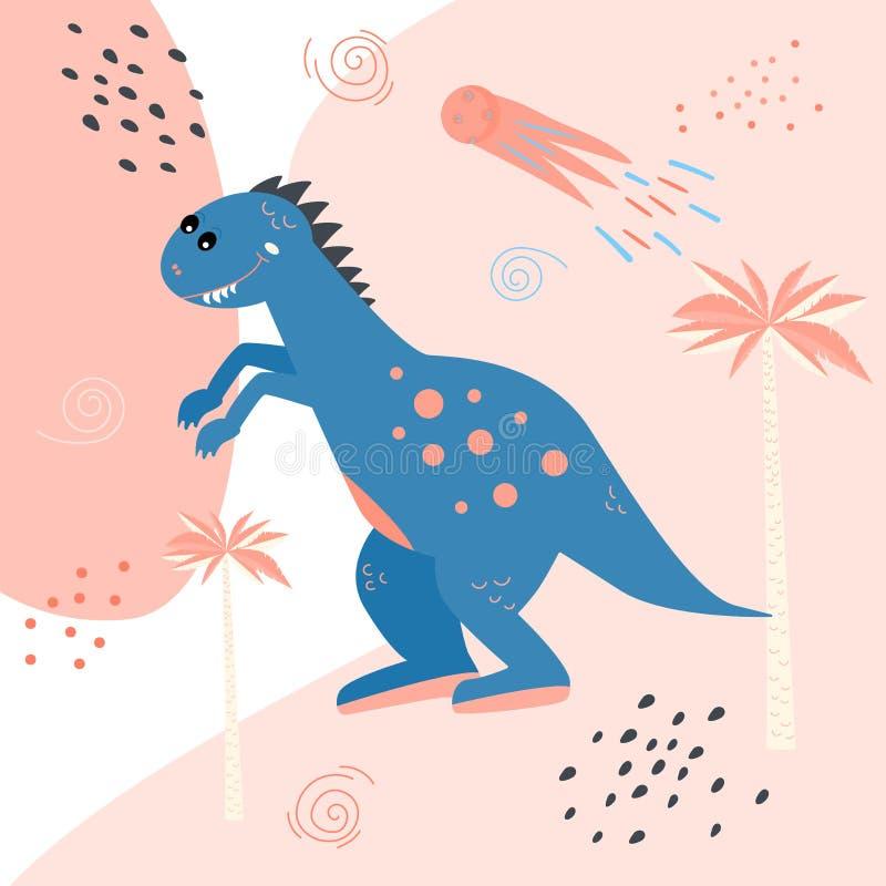 gullig dinosaur för tecknad film Tryck för barns t-skjortor, tröjor greeting lyckligt nytt år för 2007 kort Klistermärkevektorill vektor illustrationer