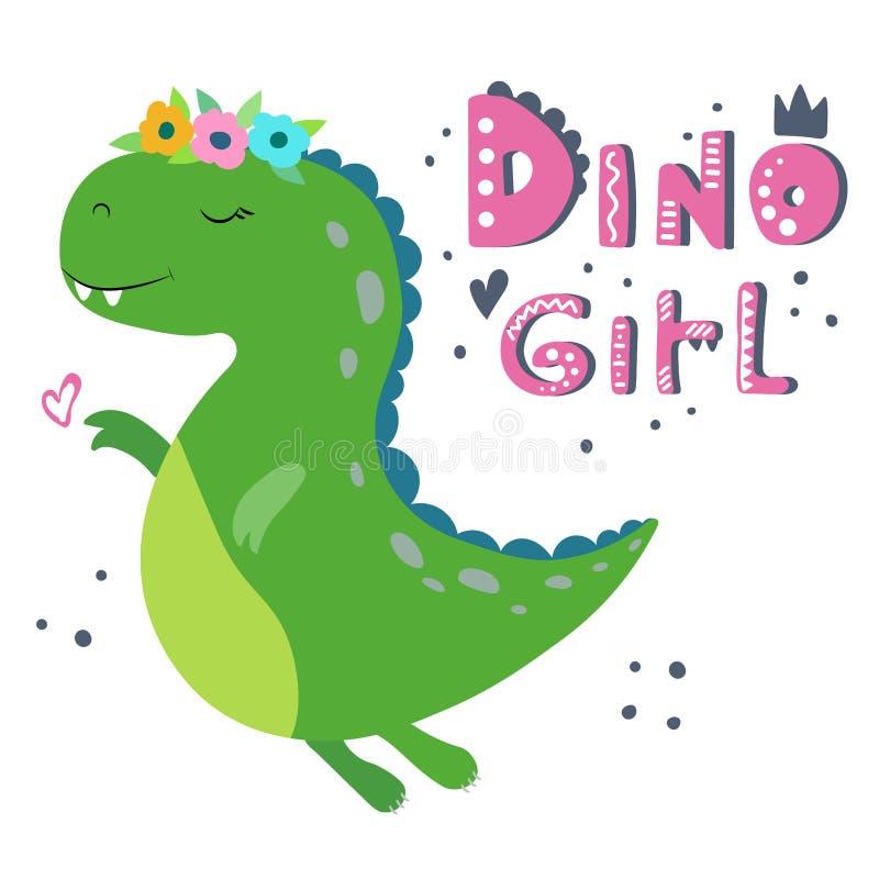 gullig dinosaur f?r tecknad film Dino flicka stock illustrationer