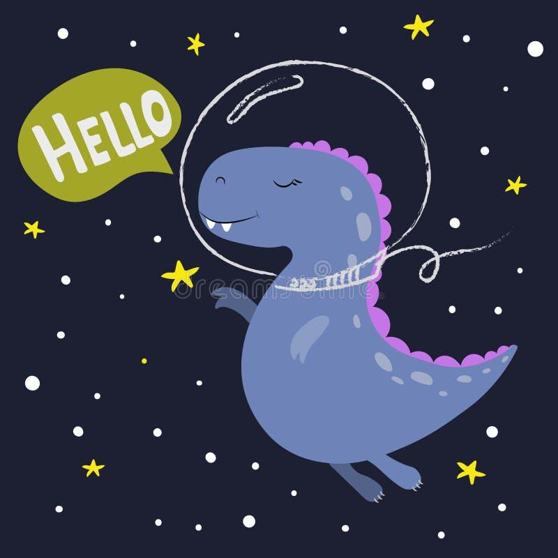 gullig dinosaur f?r tecknad film h?lsningar Hand tecknad vektorillustration royaltyfri illustrationer