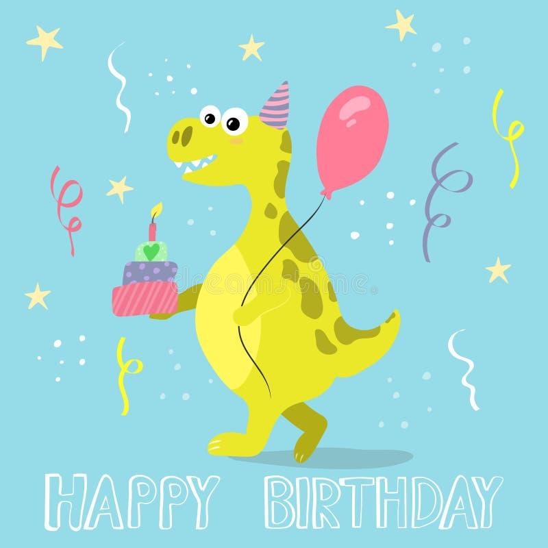 gullig dinosaur f?r tecknad film lycklig f?delsedagkorth?lsning stock illustrationer
