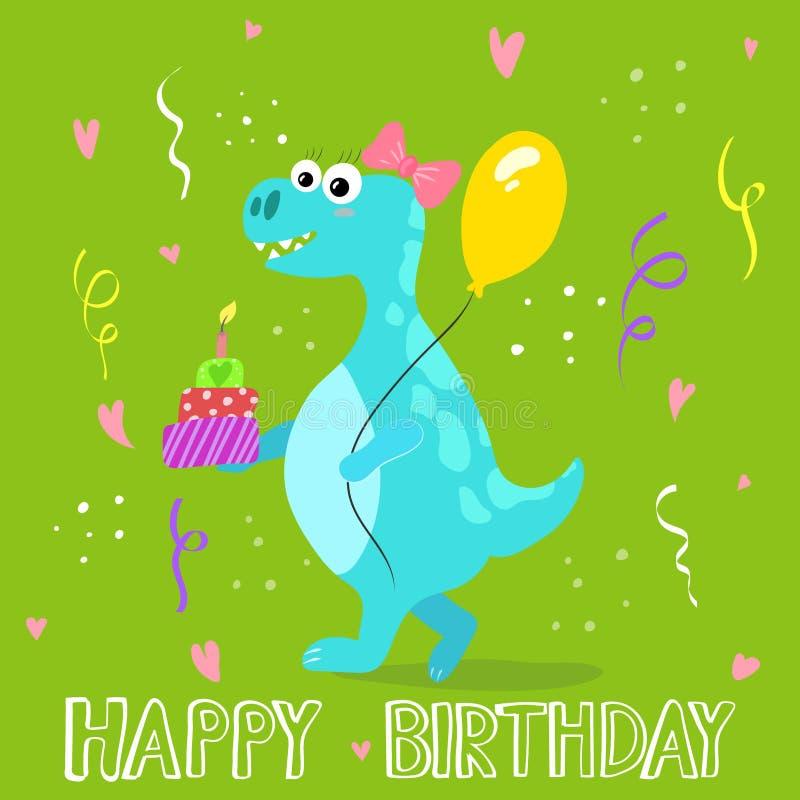 gullig dinosaur f?r tecknad film lycklig f?delsedagkorth?lsning vektor illustrationer