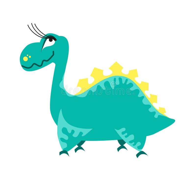 gullig dinosaurgreen tecknad film dino också vektor för coreldrawillustration stock illustrationer
