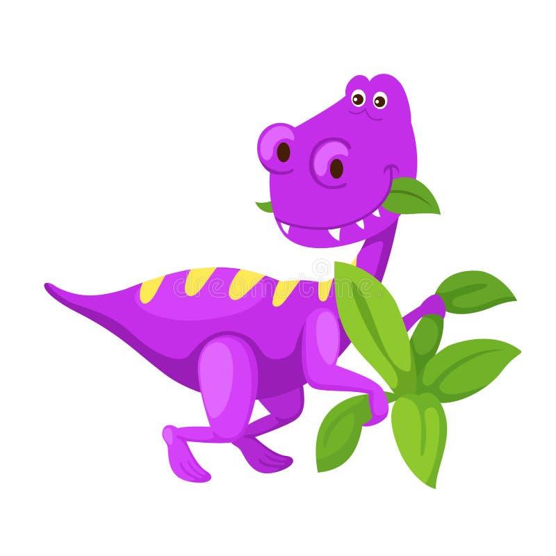 Gullig dinosaurie för illustrationtecknad film som isoleras på vit bakgrund stock illustrationer