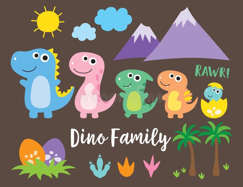 Gullig dinosauriefamilj royaltyfri illustrationer
