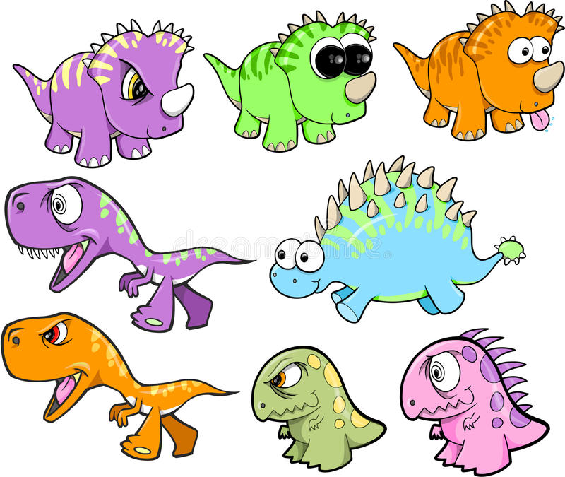 gullig dinosaurset stock illustrationer