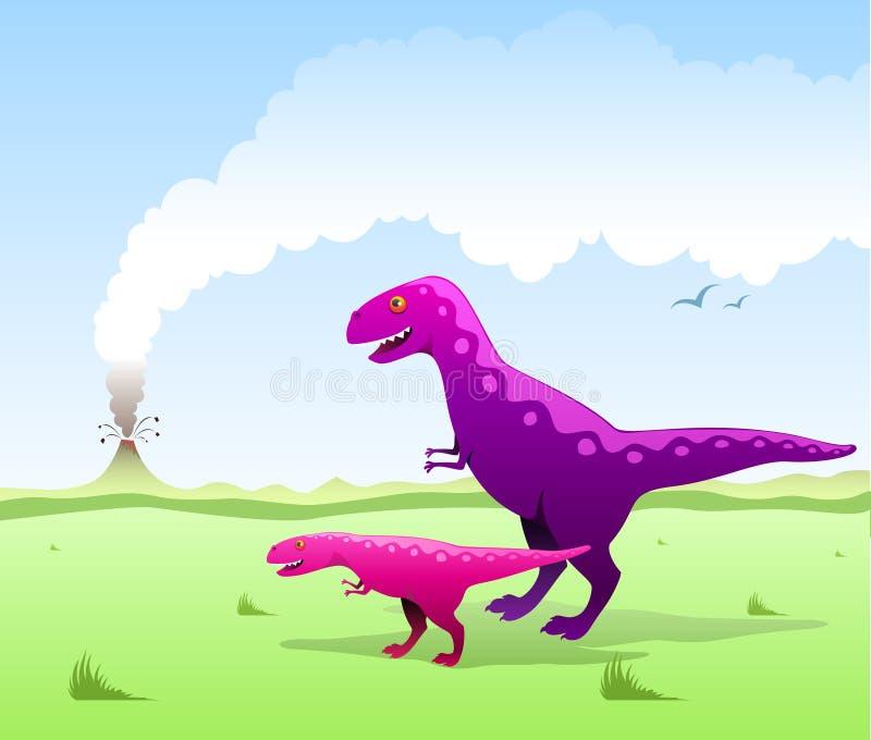 Gullig dinosaursillustration vektor illustrationer