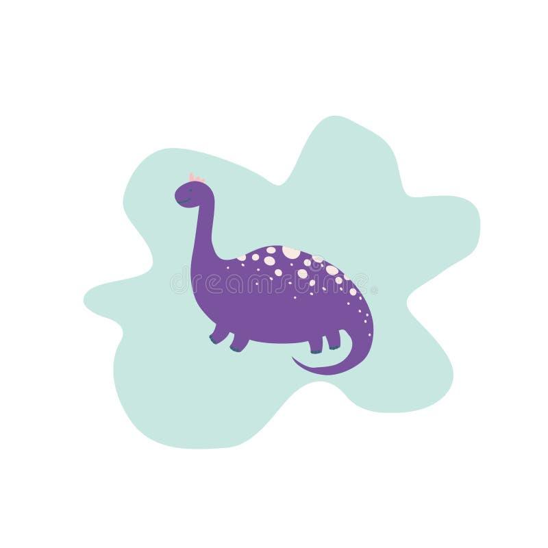 Gullig dinosaurus i plan stil vektor illustrationer