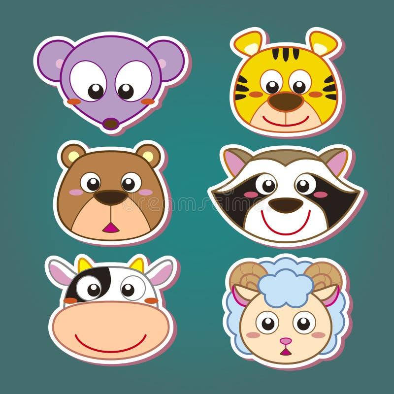 gullig djur head symbol royaltyfri illustrationer