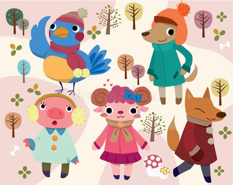 gullig djur tecknad film stock illustrationer