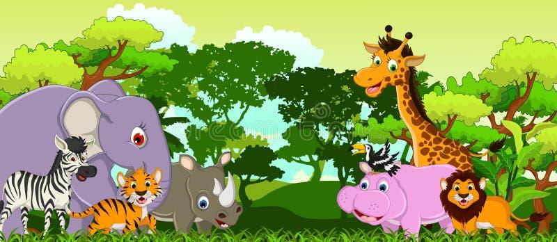 Gullig djur tecknad film med tropisk skogbakgrund stock illustrationer