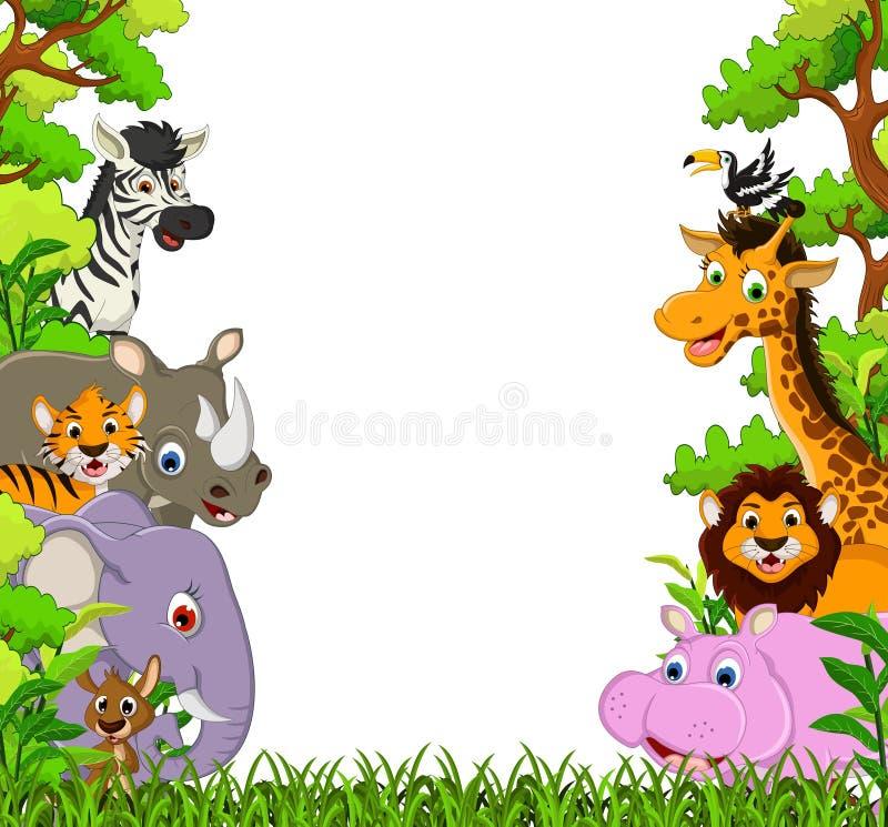 Gullig djur tecknad film med tropisk skogbakgrund royaltyfri illustrationer