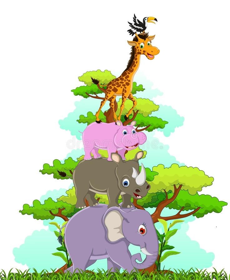 Gullig djurdjurlivsamling vektor illustrationer