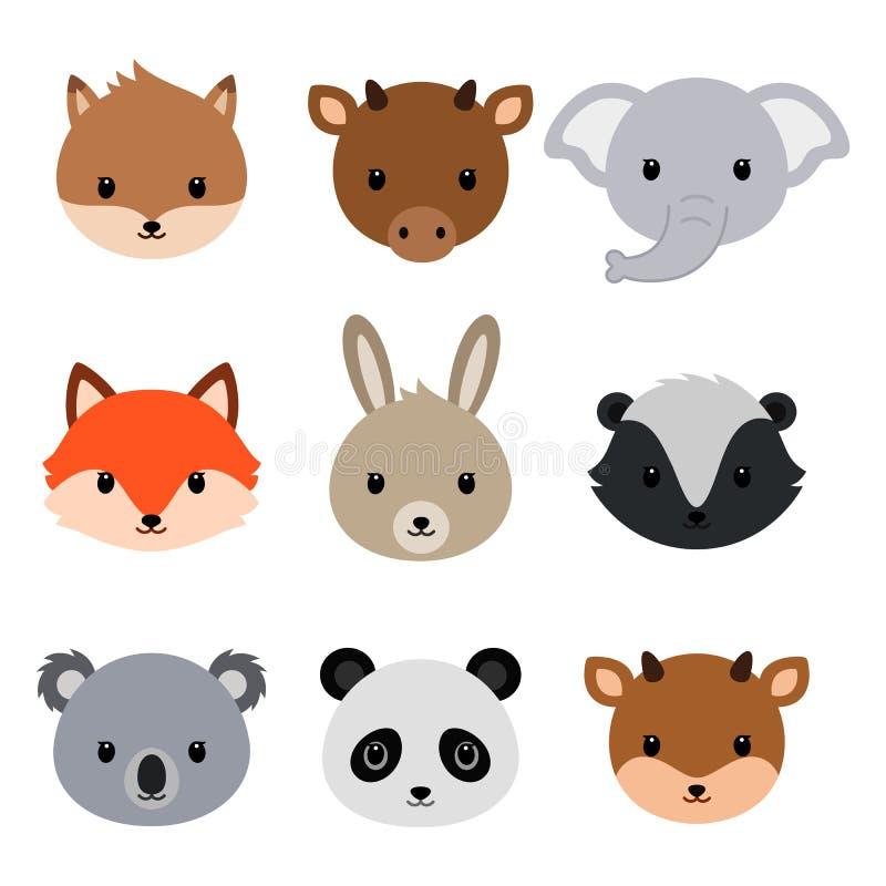 gullig djursamling Plan stil royaltyfri illustrationer