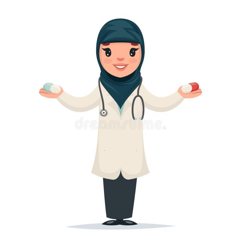 Gullig doktor för arabisk kvinnlig flicka med preventivpillerar i för symbolsläkare för händer tecken isolerad för Retro Cartoon  stock illustrationer