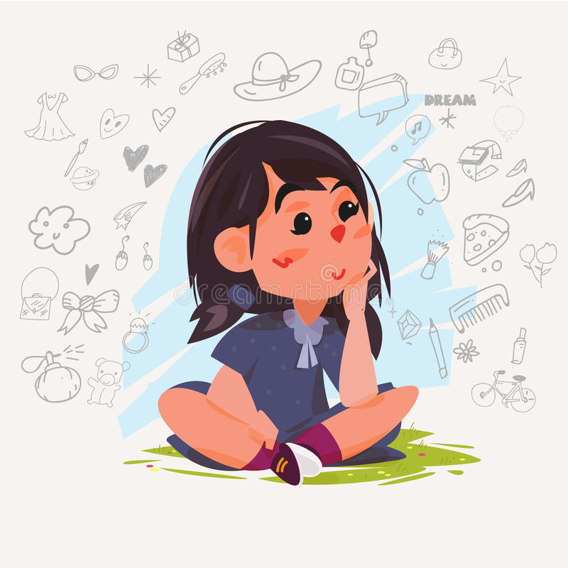 Gullig drömma flicka Ung flickasammanträde på jord och tänka av stock illustrationer