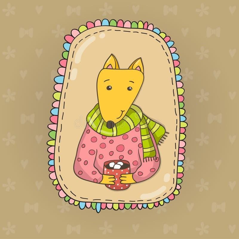 Gullig dragen räv för tecknad film hand med en kopp av kakao royaltyfri illustrationer