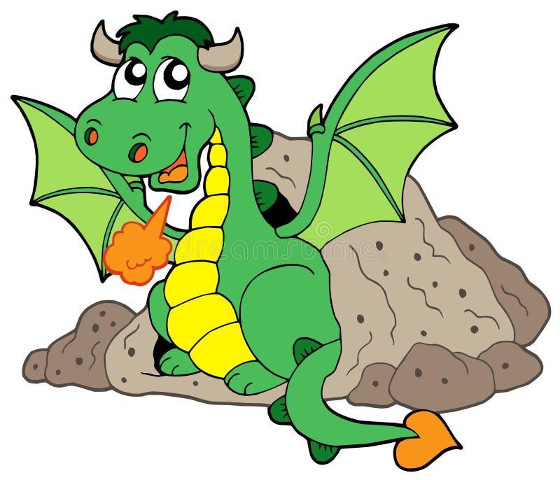 gullig drake för grotta stock illustrationer