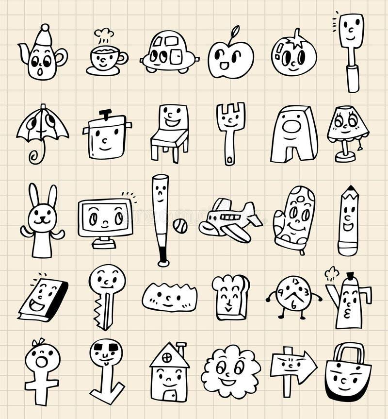 gullig drawhand för tecknad film stock illustrationer