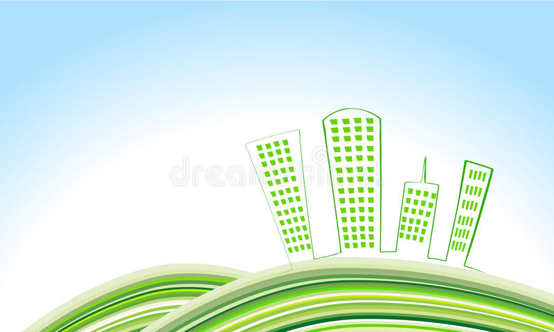 gullig eco för stad stock illustrationer