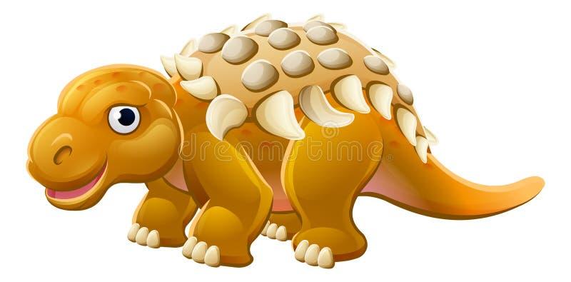 Gullig Edmontoniatecknad filmdinosaurie royaltyfri illustrationer