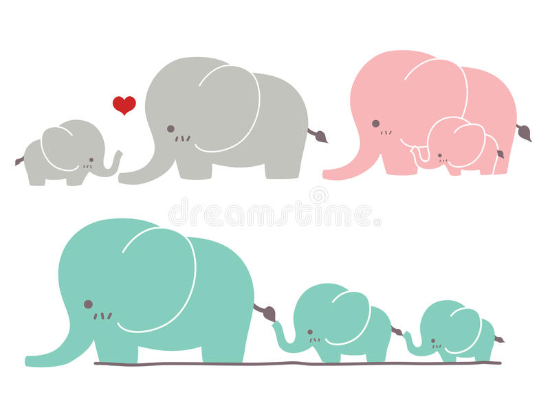 Gullig elefant vektor illustrationer