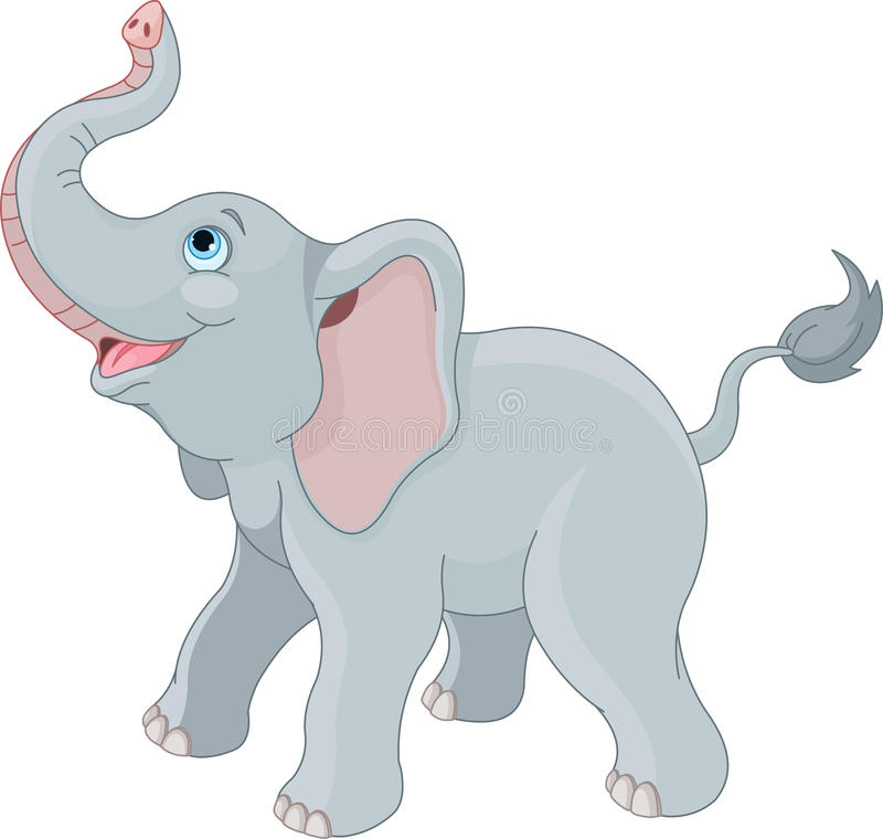 Gullig elefant royaltyfri illustrationer