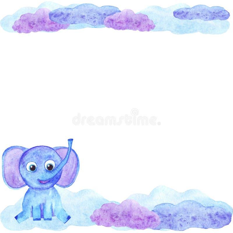 Gullig elefant för vattenfärg och inbjudan för molnramkort stock illustrationer