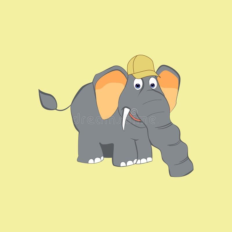 Gullig elefant i ett lock i en tecknad filmstil royaltyfri illustrationer