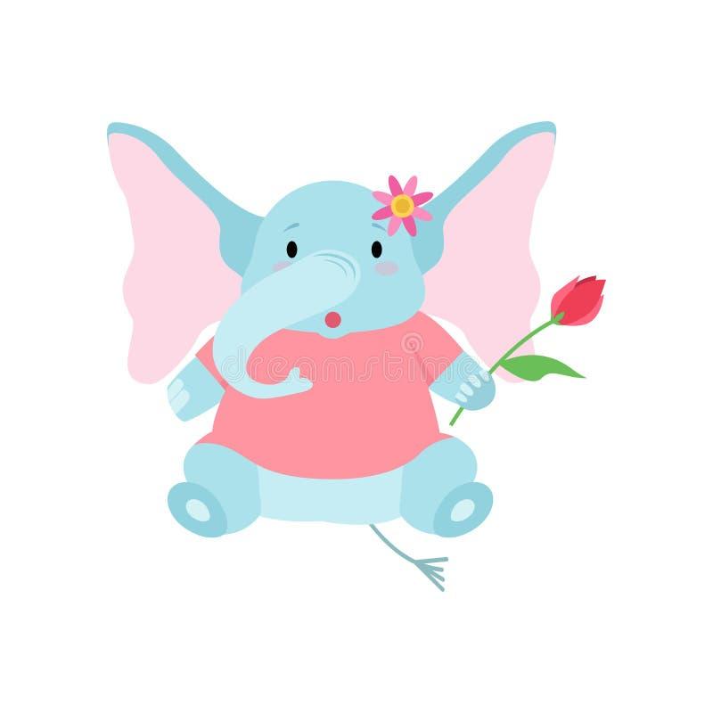 Gullig elefant som sitter med blomman, rolig djur illustration för vektor för tecknad filmtecken stock illustrationer
