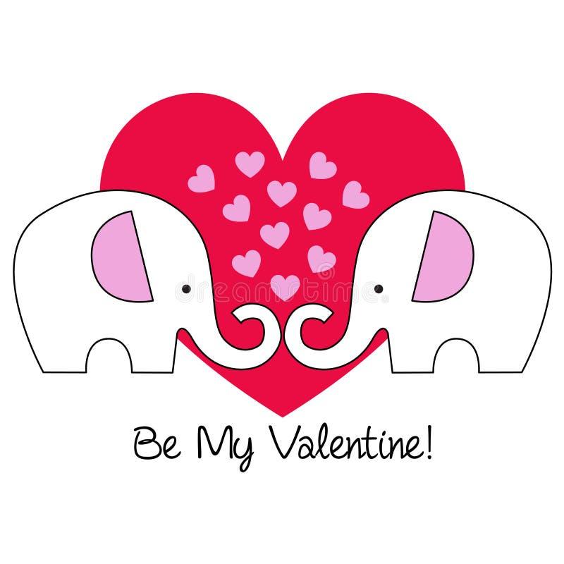 Gullig elefantvalentin på röd hjärta stock illustrationer