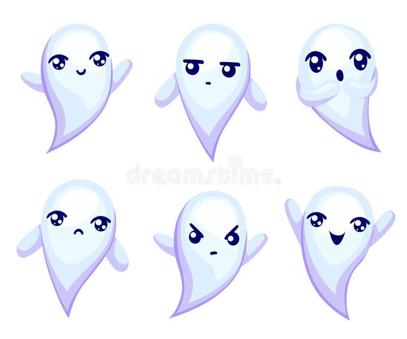 Gullig emoji för spökeemoticonsmiley - illustration royaltyfri illustrationer