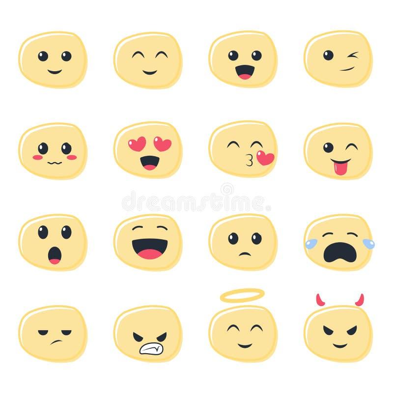 Gullig Emoji symbolsuppsättning, emoticons royaltyfria bilder