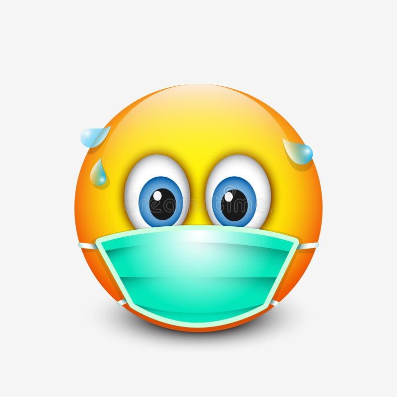 Gullig emoticon som bär den medicinska maskeringen - emoji - vektorillustration vektor illustrationer
