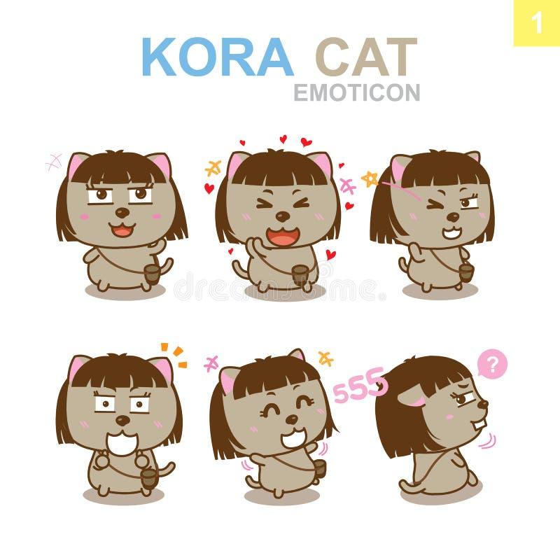 Gullig Emoticondesign - Cat Set stock illustrationer