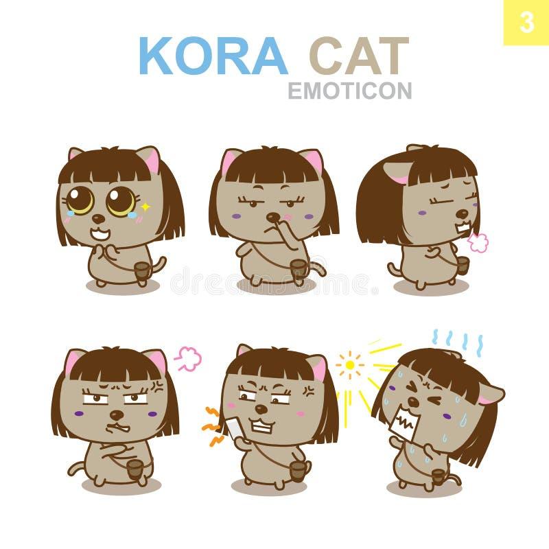 Gullig Emoticondesign - Cat Set royaltyfri illustrationer